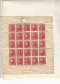 Belgium 1920/1940 - Batch of stamp sheets, sheet parts and loose stamps.