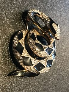 Very rare crystal set Atwood and sawyer snake brooch fully signed