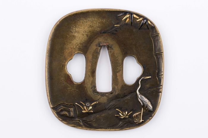 Brass Tsuba, Silver, Gold and Shakudo Inlay - Japan - 18th/19th century