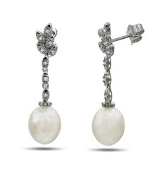 18K Gold and 0.15Ct VS Diamond Earrings Featuring Freshwater Pearl Drops - Authenticity Certificate Included