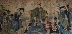 Rare print by Kitagawa Utamaro triptych (1753 -1806) original woodblock print the story of Yoritomo releasing cranes at Yuigahama - Japan - ca. 1805