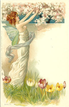 Fancy cards, the woman. Nice lot of 77 postcards from Art Nouveau to Brigitte Bardot on the theme of women (1900-1960)