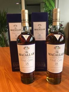 2 bottles - The Macallan 18 Year Old Fine Oak Scotch Whisky 700mL