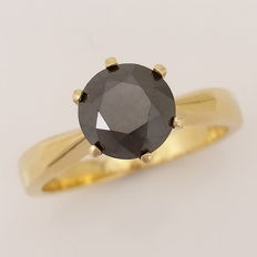 1.63ct Black Diamond Solitaire Ring, 14kt Yellow Gold ***No Reserve Price***