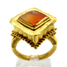 Ancient Roman Gold Filigreed Ring with Amber Stone in Bezel - 18 mm