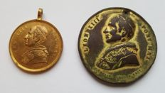 Two gold-plated old medals - Pope Leo XIII