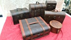 Six wooden cases/wine cases, with leather and brass