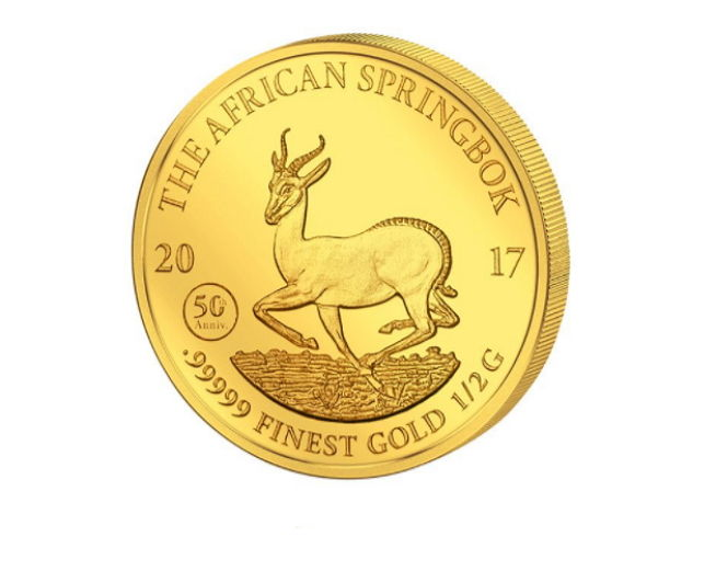1 piece gold coin - 1000 francs - Krugerrand with springbok motif 2017 - 50th anniversary springbok 2017 - With certificate - Edition of only 25,000 coins