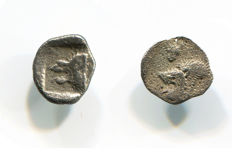 Greek Antiquity – Mysia, Cyzicus Mint - Lot of Two Silver Fractions (Obol/Hemiobol) / Boar Lion – Struck after 480 BC