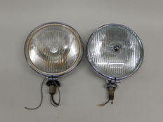 A Pair of Chrome 1950's Lucas Matching Lucas SFT 700S One Spot light and One Fog light in Excellent Used Vintage Condition