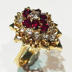1.02ct Ruby and Diamond Ring - 49mm / US size 5 - NO RESERVE -