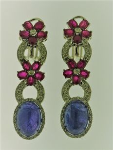 Earrings in 18 kt gold with 1.06 ct diamonds, 4.94 ct rubies and tanzanite - size: 4.8 cm