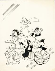 "Original illustration ""Natale con Titti, Silvestro, Bugs Bunny & co."" (1980s)"
