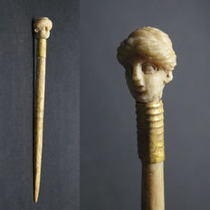 Ancient Greek Bone/Gold Hairpin with Female Head - 85 mm