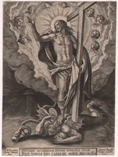 Hieronymus Wierix (1553--1619)  - Christ conquering Satan - First state with  the publishers address of Jean Baptista Vrints and the dating 1585