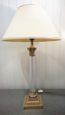 Empire-style lamp with twisted crystal glass, France, circa 1960