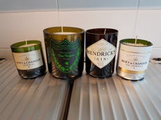 Dom Perignon / Moet et Chandon Ice and Imperial / Hendrick's Gin LED Candles soy wax - 4 items