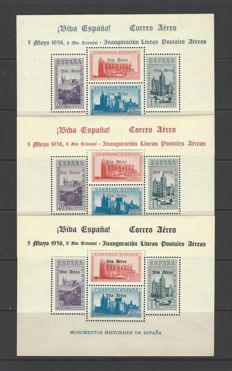Spain 1936/1930 – HB Monuments, overcharged. Locals from Burgos – Edifil 95/97.