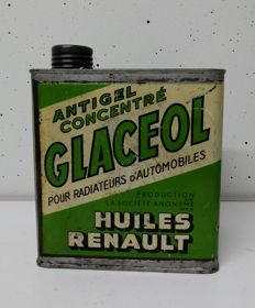 Very old Huiles Renault Glaceol advertising tin can container RARE