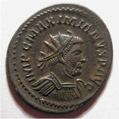 Roman Empire - MAXIMIANUS (286-305 A.D.), antoninianus, silvered large FLAN old cabinet tone