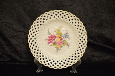 Opulent Meissen Plate with Painted Flowers and Gold Accents