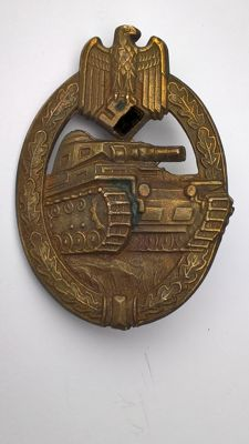 WWII NAZI Third Reich Tank Assault badge in bronze, maker mark AS.