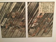 Two diptych woodblock prints with Samurai - Japan - ca 1800–1850