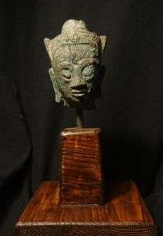 Sukhothai Buddha Head - Hollow Bronze on Metal & Wood Mount- 4.2 x 5.4cm (fragment only)