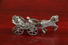 Silver miniature (chariot drawn by horse), Netherlands, 20th century