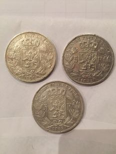 Belgium - 5 francs 1851, 1853 and 1867, Leopold I and II - silver