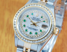Rolex 18K Gold & S/S Emerald Pearl Diamonds No Holes Woman's Watch!