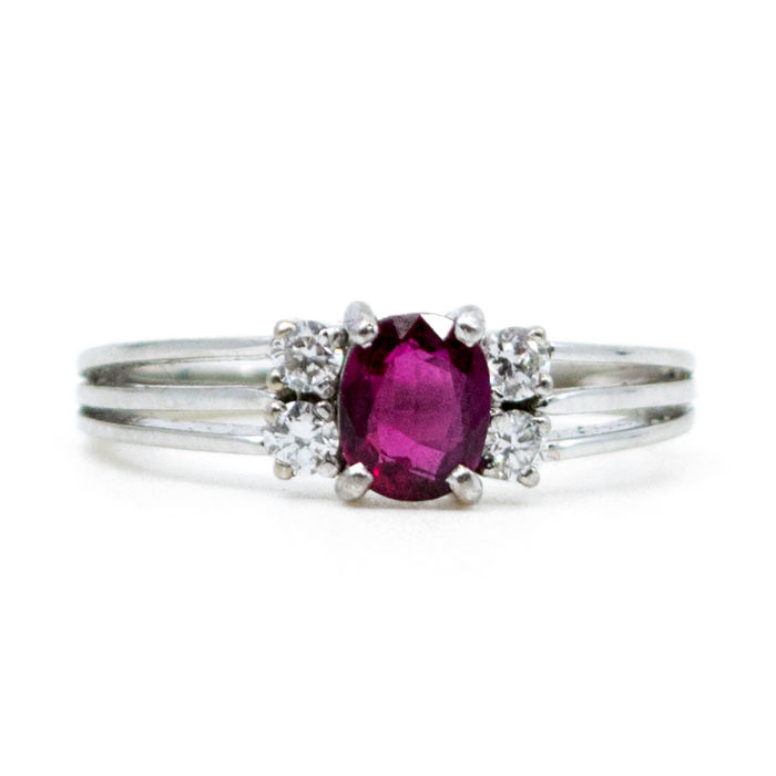 This  ring features 0.50ct Ruby and 0.30ct Brilliant Cut Diamonds in 14k white Gold.