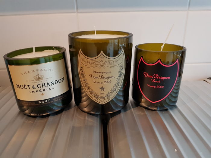 Dom Perignon 2002 & 2004 / Moët et Chandon Luminous LED Candles soy wax - 3 items