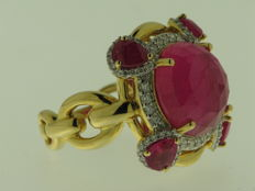 18 kt yellow gold with diamonds for 0.43 ct, rubies for 1.48 ct - ring size: 14