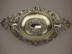 Silver dish / fruit bowl with mythological figures- Italy