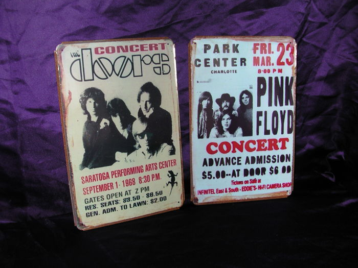 2 Stunning Metall Memorial signs from The Doors and Pink Floyd