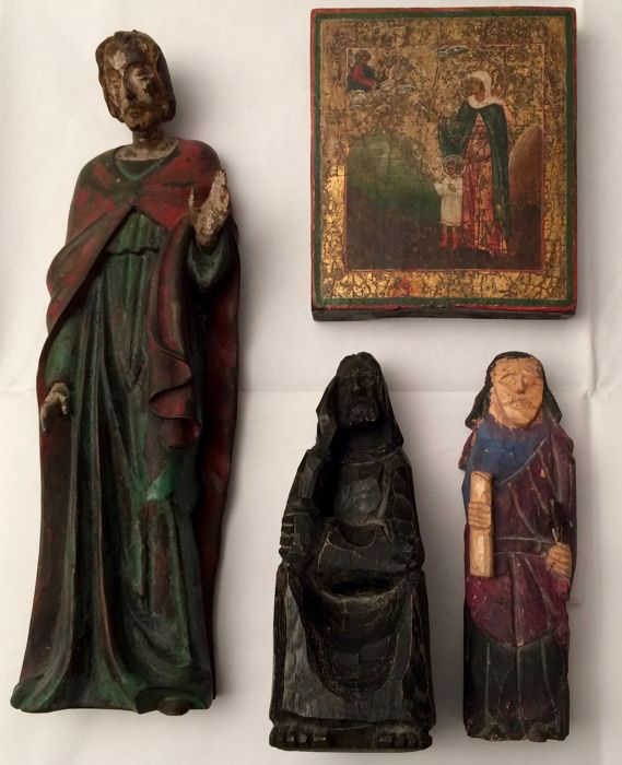 Juliet and Quirico, Russia, 19th century -Three turned statues in the round.