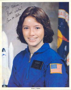 Female astronauts Anna Fisher and Rhea Seddon