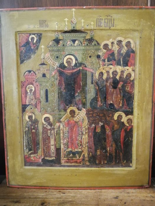 Icon the Protection of Our Most Holy Lady (pokrov), painting on panel - Russia - late 18th century