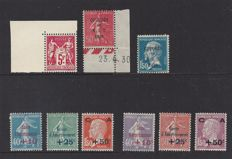 France 1925/1930 - 4 different sets - Yvert n° 216, 246/248, 249/251 and 264/265