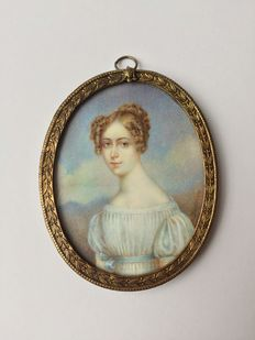 Attributed to Moritz Michael Daffinger (1770-1849), miniature portrait of a lady in white dress, England, 19th century