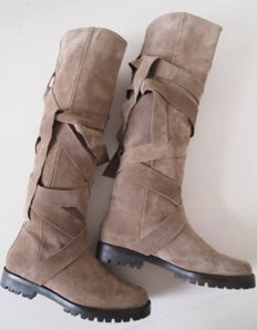 Essentiel Antwerp - Suede high booths of grey-taupe colour, size 39