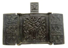 Bronze 3 Panel Icon depicting the Resurrection of Jesus Christ - 95x66mm