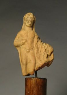 Naked Male Youth Holding a Cloak - Terracotta Fragment on Fibre Clay & Wood Mount - 23 x10 cms