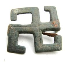 Ancient Roman Bronze Swastika Brooch / Fibula with Iron Pin - 33 mm