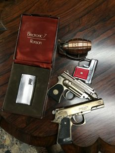 RONSON steel lighter - 1970 + 4x gun shaped lighters