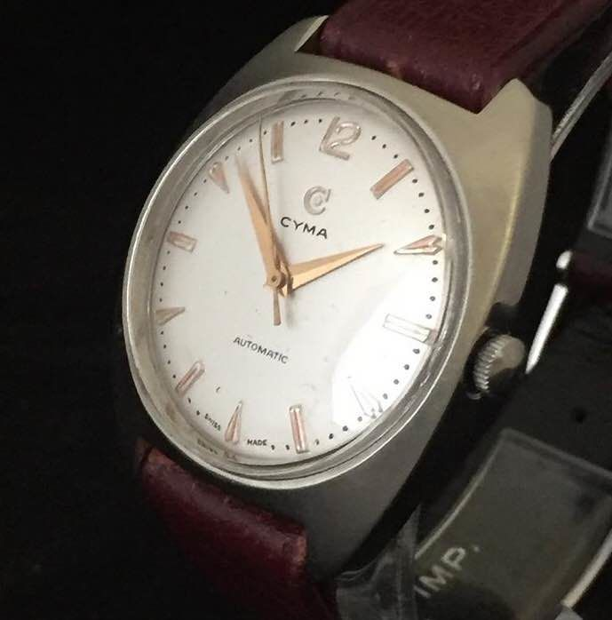 Cyma Bumper automatic - marriage men's wristwatch - movement 1940s and case 1970s, 20th century