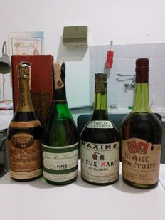French Marc 4 Bottles from the 1970s - Piper, Goyard, Raisin Maxime and Antonin Rodet