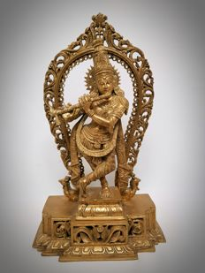 Large brass Krishna - India - late 20th century (43cm)