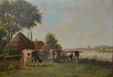 Adriaanus Marinus Geijp - 1855-1926 - Farm with cows at the water